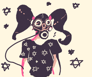 Girl in gas mask w/ star shirt