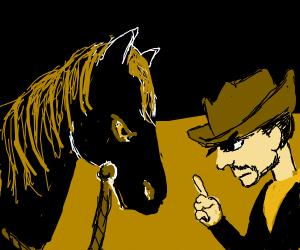 Cowboy mad at his horse