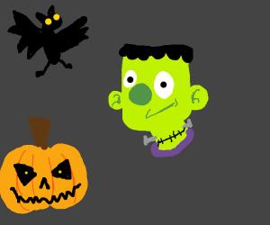 frankenstein with pumpkins and a bat