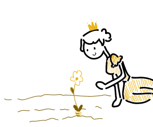 A queen planting carrot flowers