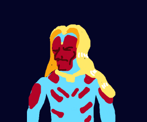 Vision (Marvel character) wit long blond hair