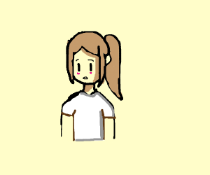 girl with a white t shirt