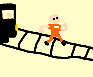 Prisoner in Orange running on a train track