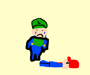 Luigi moarning over dead mario