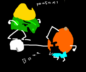 Orange in shorts fights blond green cheese
