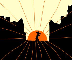 Cowboy silhouette , sunset