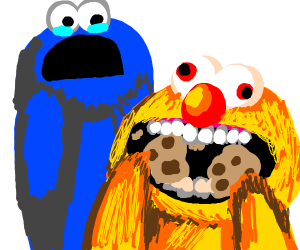 Yellmo stealing cookie monster's cookie