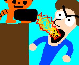 Garfielf pees fire on Jon