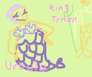 Sassy Ursula looks over at King Triton