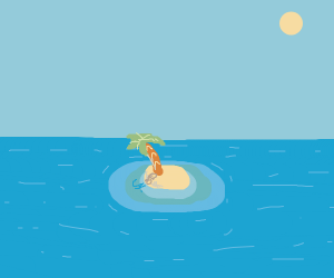 a nice-coloured palm tree on a tiny island