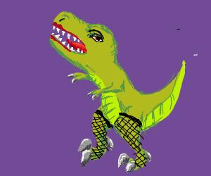 Dinosaur in fishnets