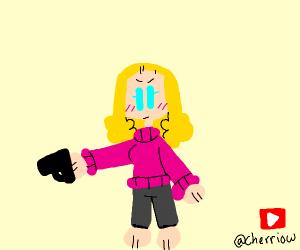 blonde woman shooting gun