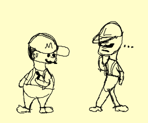 mario and Luigi but Luigi has a chin