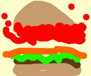Gravity defying ketchup on burger