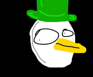 white duck with green hat