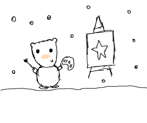 A bear paints a star during a blizzard