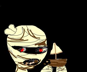 Mummy eating a Sailboat