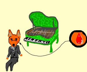 green piano man cat crying blood