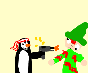 Penguin caps an elf