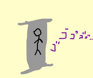 a pillar with strange markings on it