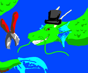 dragonfish with top hat and giant pliers