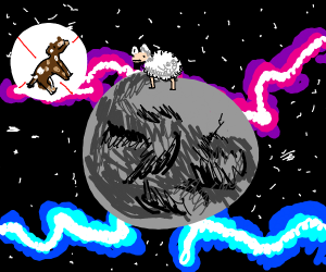 Sheep on moon, sad cow isnt there