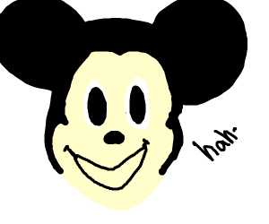Micky mouse with disturbingly long face