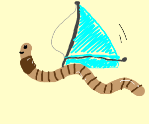 worm with sail on its back