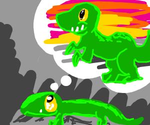 lizard fantasizing about being a dinosaur
