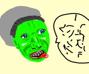 Green man speaking gibberish