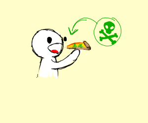a man eating poison pizza