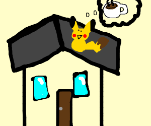 Pikachu on a roof thinking about coffee
