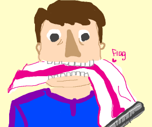 Man eating flag