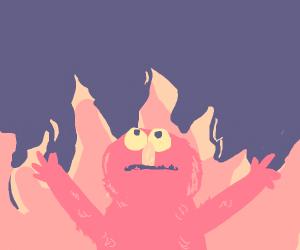 Elmo burning in a fire