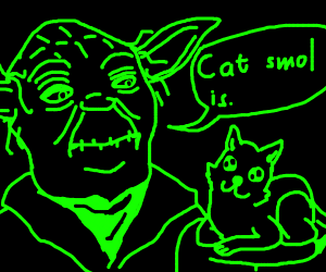 neon yoda with cat