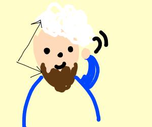 Beard and A white wig