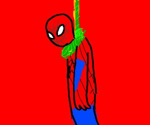 spider man hangs himself