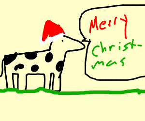 Cow says merry Christmas