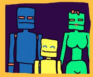 Robot Nuclear Family Portrait