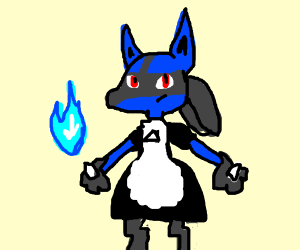 lucario in a maid dress