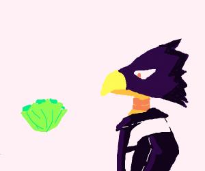 Bird from my hero academia lookin at lettuce