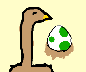Ostrich takes care of a Yoshi egg
