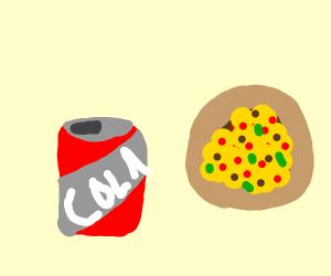 coca cola and pizza