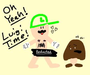 Naked Luigi wats a goomba