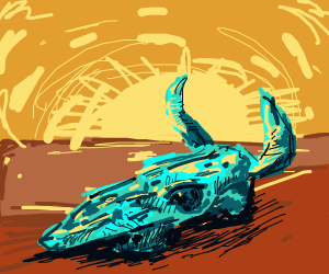 Skull decaying in desert sun and heat