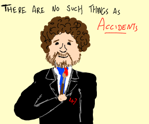 Bob Ross as Agent 47 with bloody brush