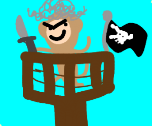 Pirate Monkey with a Barbed Wire Bat