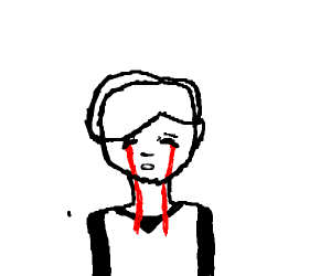 Anime boy crying blood