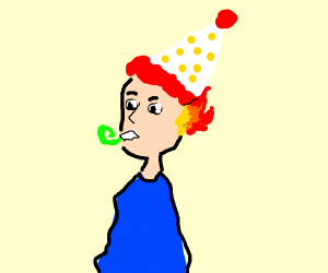 man with party hat has his ears on fire