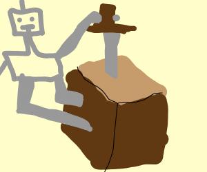 Bot stabs dirt block with steel sword